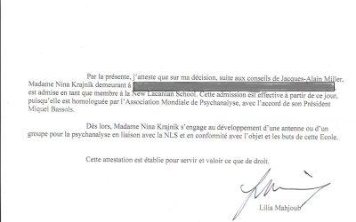 Krajnik's confirmation of membership in the New Lacanian School and World Association of Psychoanalysis